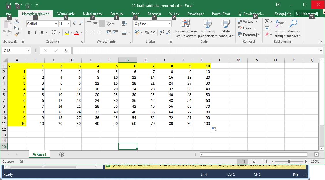 Tabliczka mnożenia Excel