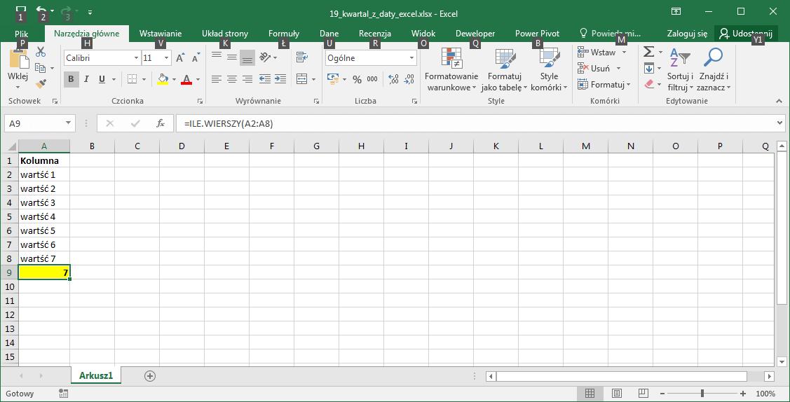 Excel - Zliczanie komórek.