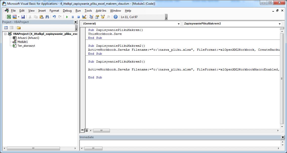 Zapisywanie pliku makrem w VBA Excel