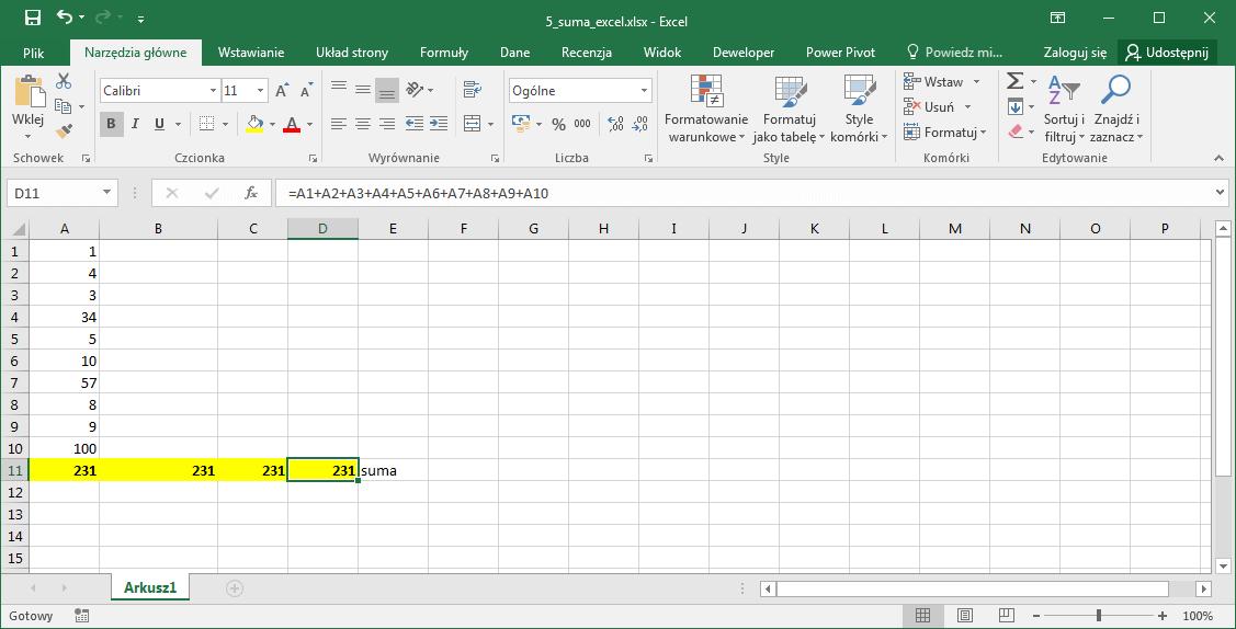 Sumowania liczb Excel - Funkcja Excel SUMA