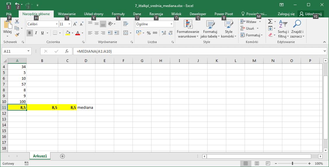 Mediana Excel