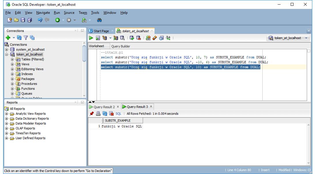 Funkcje Oracle SQL - Substr